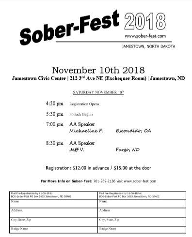 Sober-Fest 2018 Flier - Jamestown ND AA Conference